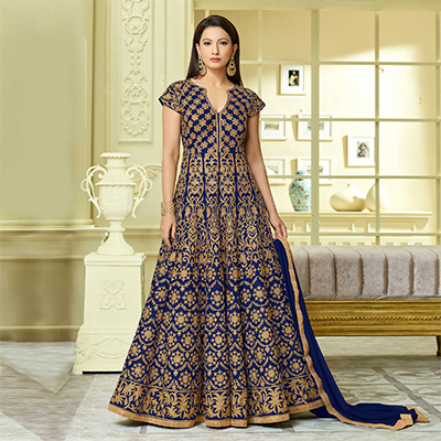 Beautiful Blue Designer Embroidered Partywear Taffeta Silk Anarkali Suit