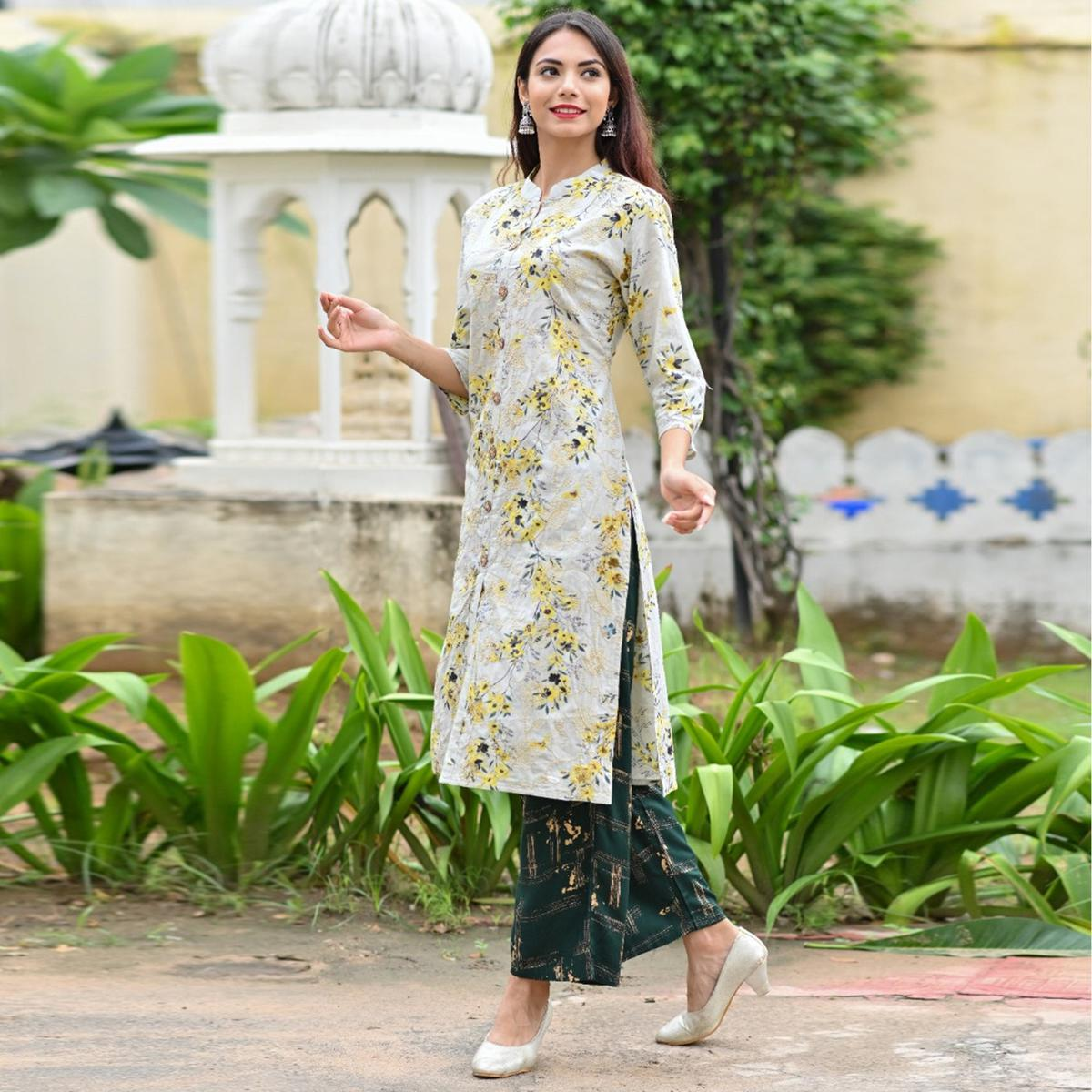 Eye-catching Offwhite Colored Partywear Printed Cotton Kurti - Palazzo Set