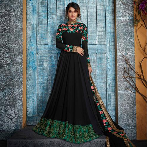 Classy Navy Blue Colored Party Wear Floral Embroidered Georgette Anarkali Suit