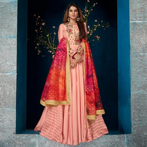 Prominent Pink Colored Party Wear Floral Embroidered Satin Silk Anarkali Suit