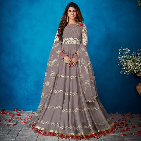 Appealing Grey Colored Party Wear Floral Embroidered Georgette Anarkali Suit
