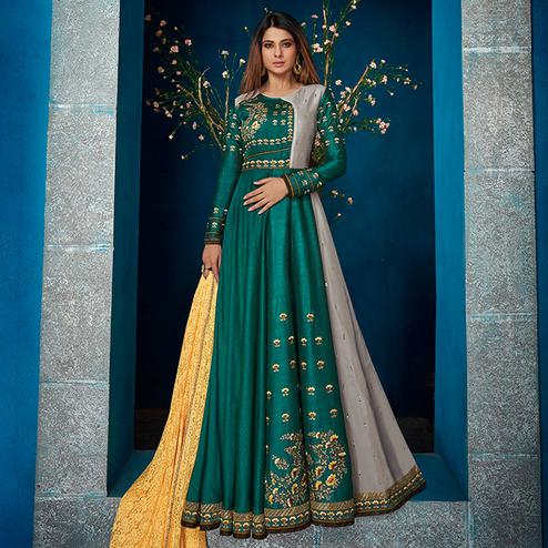 Capricious Green Colored Party Wear Floral Embroidered Satin Silk-Georgette Anarkali Suit