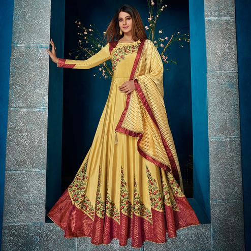 Groovy Yellow Colored Party Wear Floral Embroidered Satin Silk Anarkali Suit