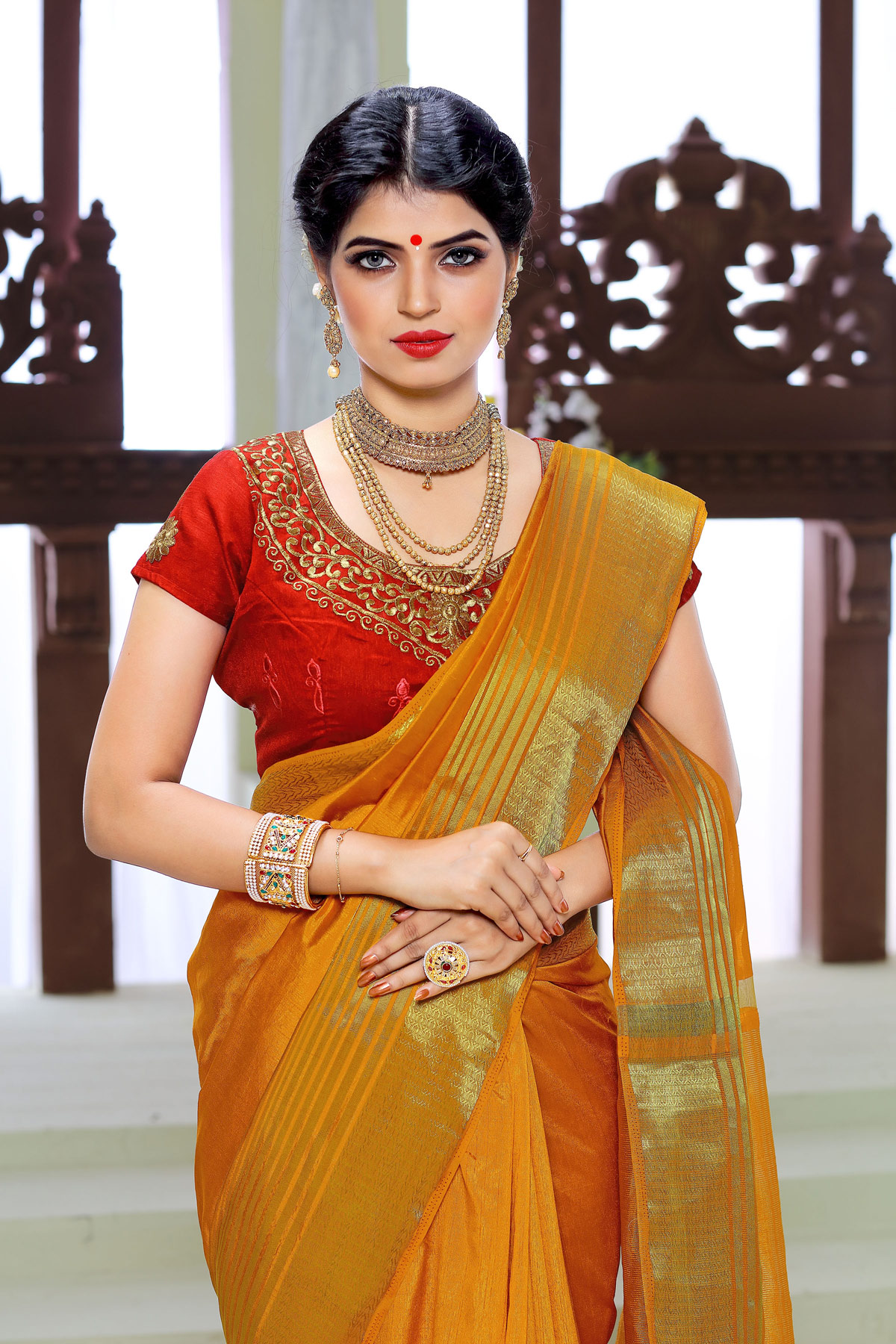 Orange Saree with Embroidered Work Blouse