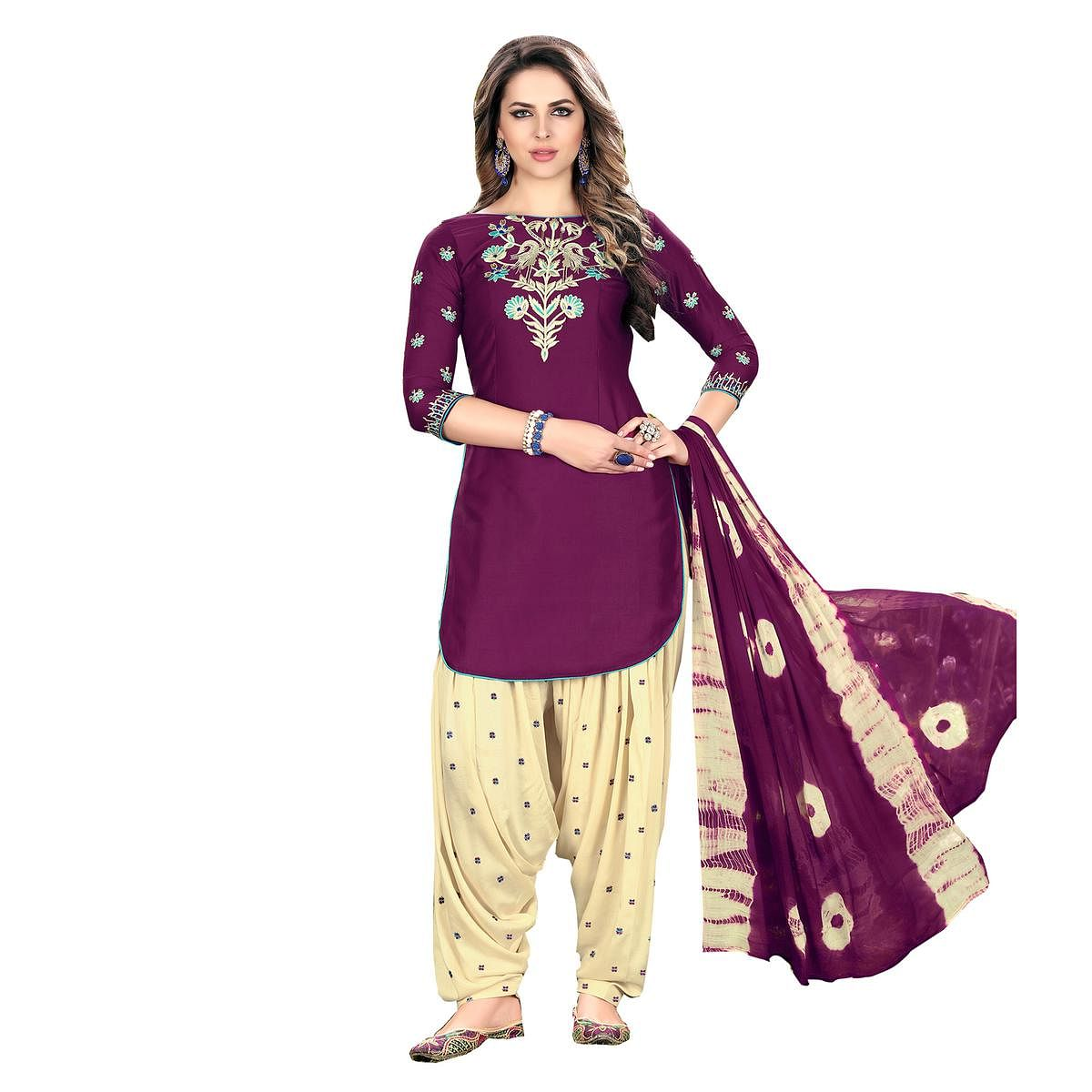 Mesmerising Purple Designer Embroidered Partywear Glaze Cotton Patiyala Suit