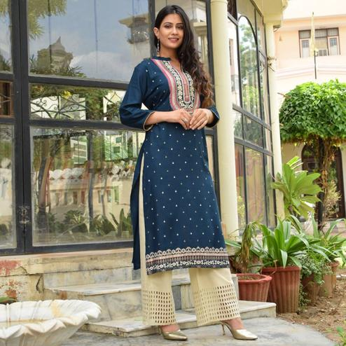 Gorgeous Navy Blue Colored Casual Wear Printed Cotton Kurti - Palazzo Set