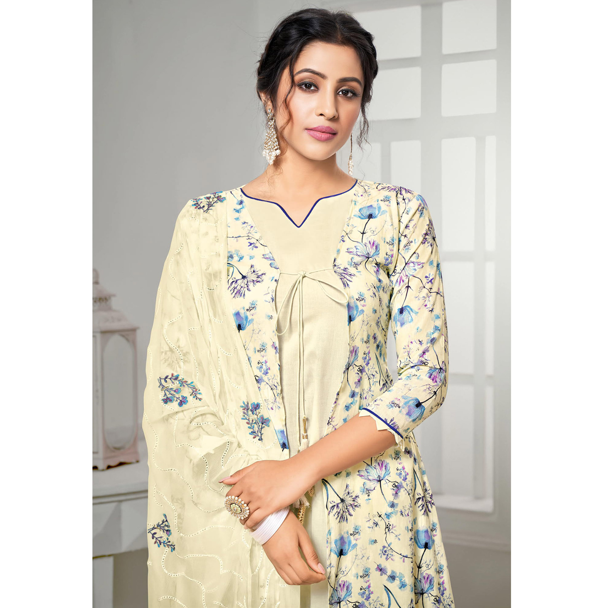 Intricate Cream Colored Partywear Digital Printed Pure Jam Cotton Palazzo Suit