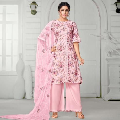 Arresting Light Pink Colored Partywear Digital Printed Pure Jam Cotton Palazzo Suit