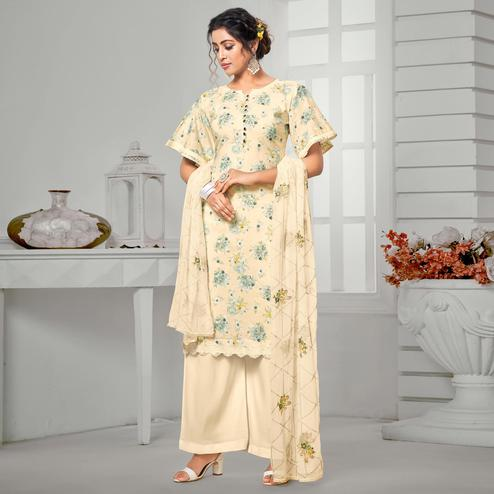 Desirable Beige Colored Partywear Digital Printed Pure Jam Cotton Palazzo Suit