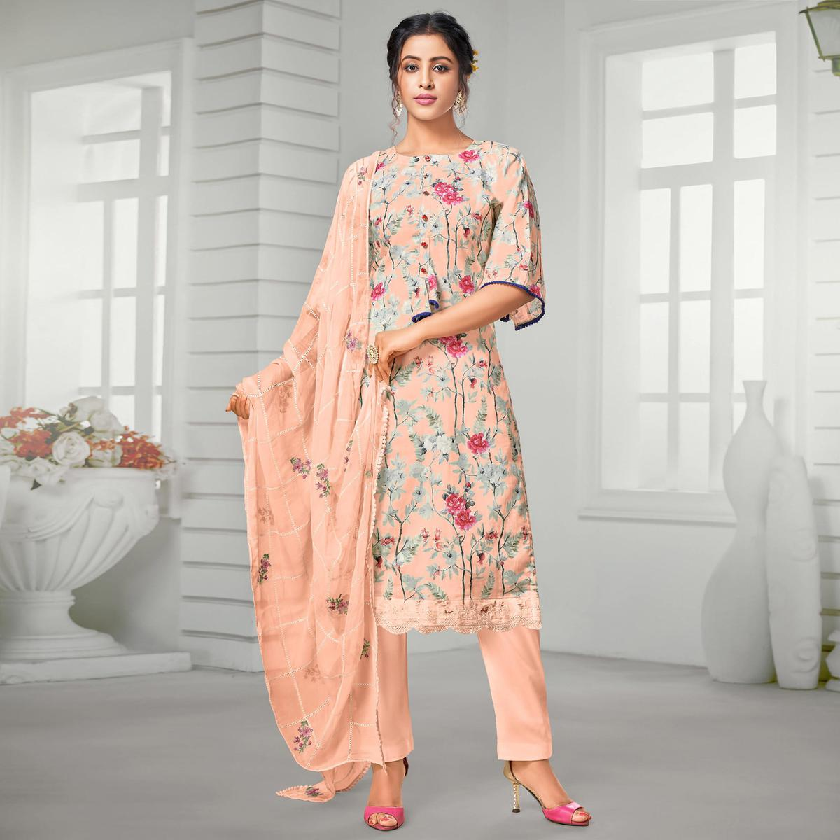 Exotic Light Peach Colored Partywear Digital Printed Pure Jam Cotton Palazzo Suit