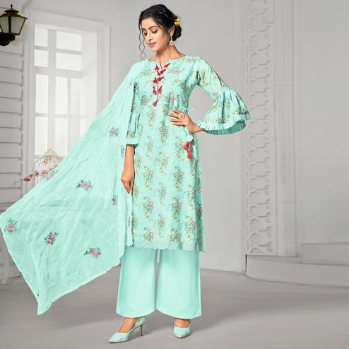Trendy Aqua Blue Colored Partywear Digital Printed Pure Jam Cotton Palazzo Suit