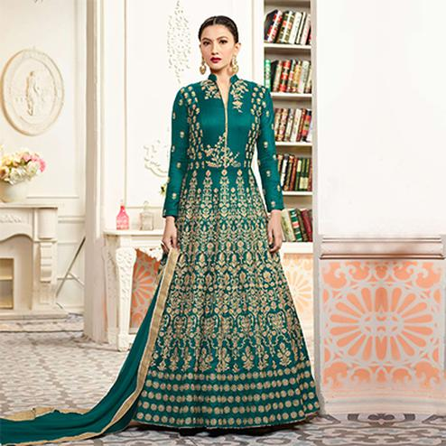 Graceful Green Designer Embroidered Partywear Taffeta Silk Anarkali Suit
