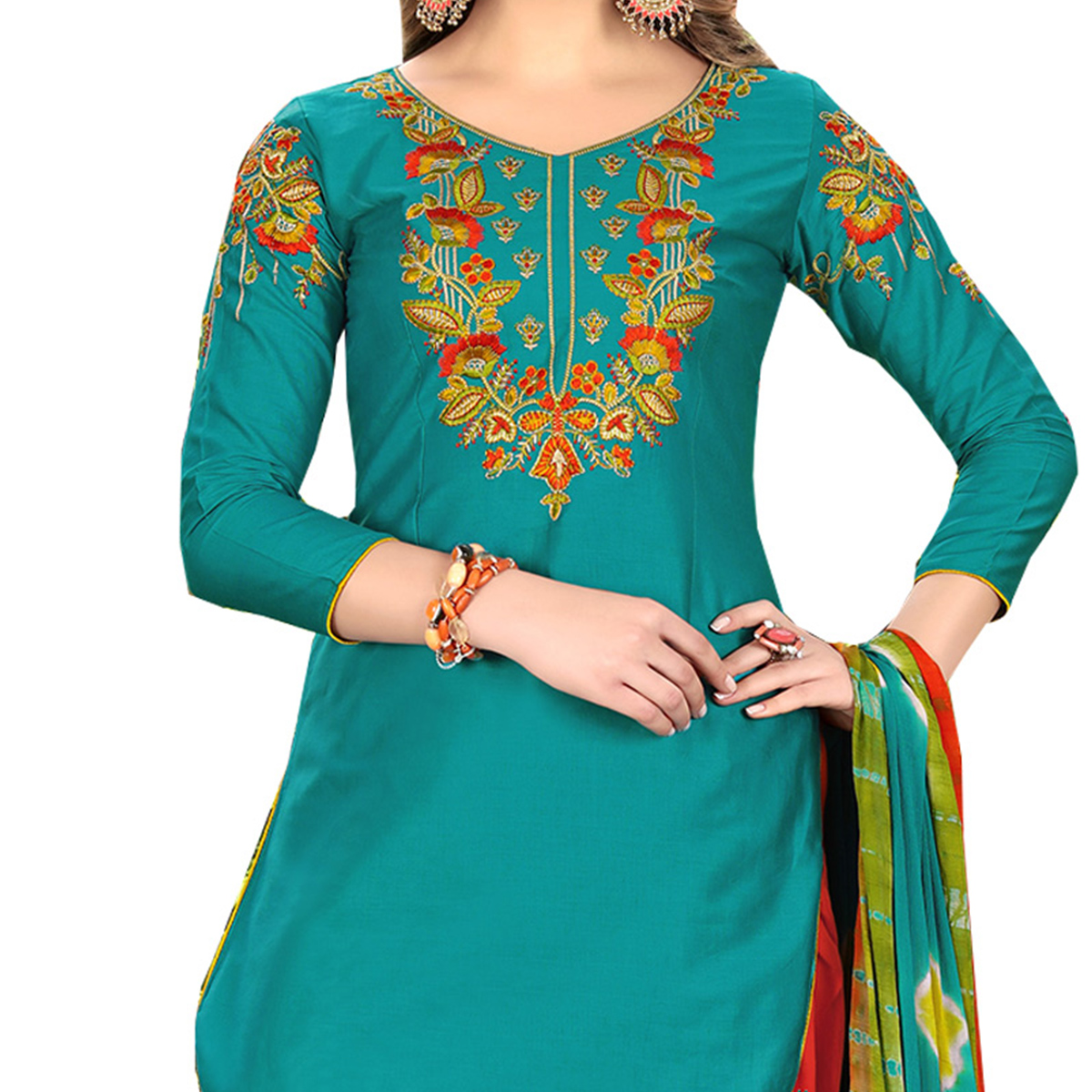 Dazzling Green Designer Embroidered Partywear Glaze Cotton Patiala Suit