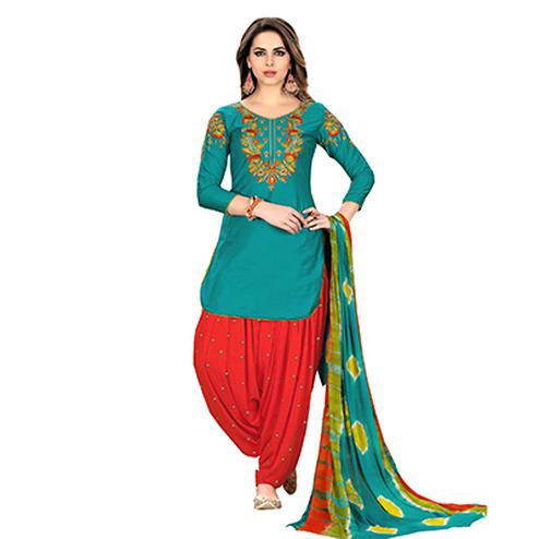 Dazzling Green Designer Embroidered Partywear Glaze Cotton Patiyala Suit