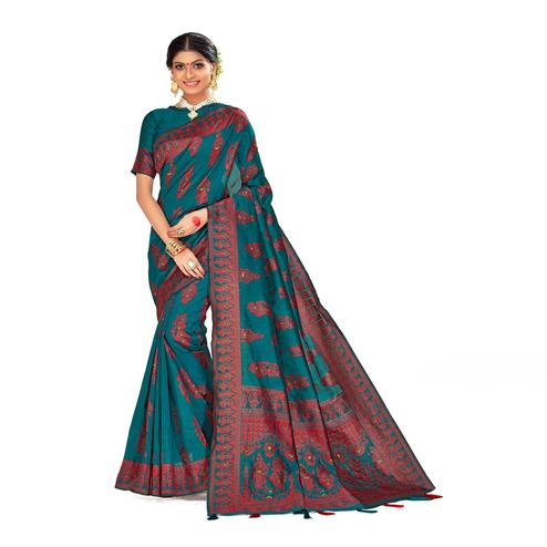 Amegh - Teal Blue Colored Festive Wear Printed Poly Cotton Silk Saree With Tassels