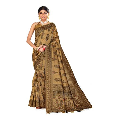 Amegh - Beige Colored Festive Wear Printed Poly Cotton Silk Saree With Tassels