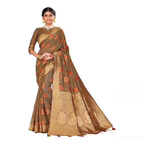 Amegh - Beige Colored Festive Wear Woven Poly Cotton Silk Saree With Tassels