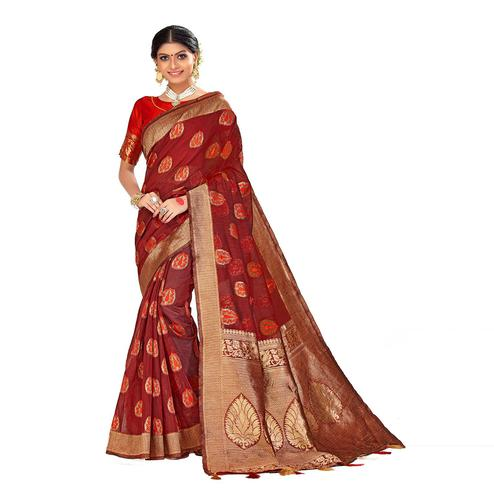 Amegh - Maroon Colored Festive Wear Woven Poly Cotton Silk Saree With Tassels