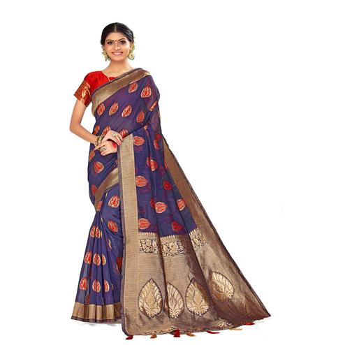 Amegh - Purple Colored Festive Wear Woven Poly Cotton Silk Saree With Tassels