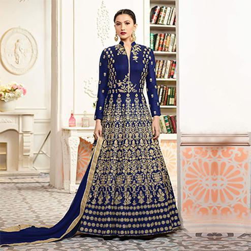 Mesmerising Blue Designer Embroidered Partywear Taffeta Silk Anarkali Suit