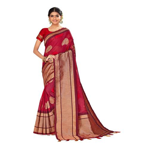 Amegh - Magenta Pink Colored Festive Wear Woven Poly Cotton Silk Saree With Tassels