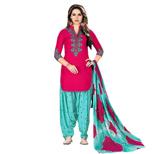 Stunning Pink Designer Embroidered Partywear Glaze Cotton Patiyala Suit