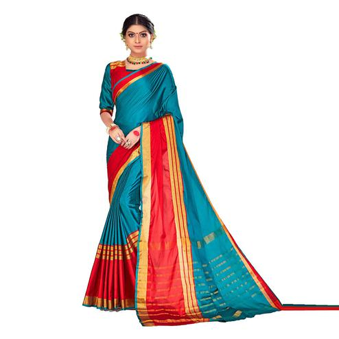 Amegh - Blue-Red Colored Festive Wear Stripe Woven Cotton Silk Saree