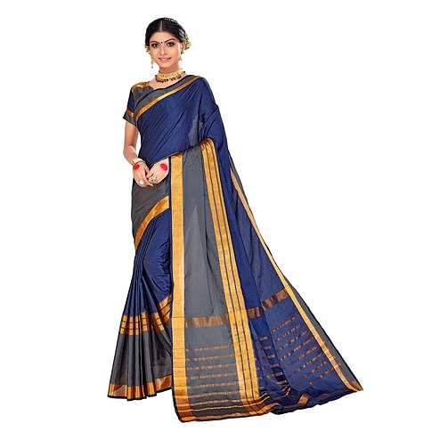 Amegh - Navy Blue-Grey Colored Festive Wear Stripe Woven Cotton Silk Saree
