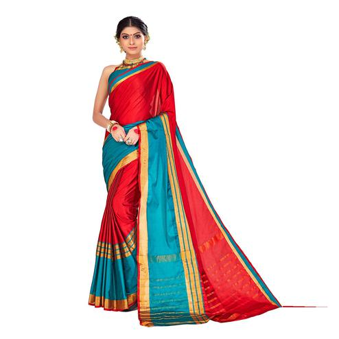 Amegh - Red-Blue Colored Festive Wear Stripe Woven Cotton Silk Saree