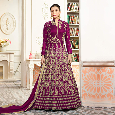 Lovely Magenta Designer Embroidered Partywear Taffeta Silk Anarkali Suit