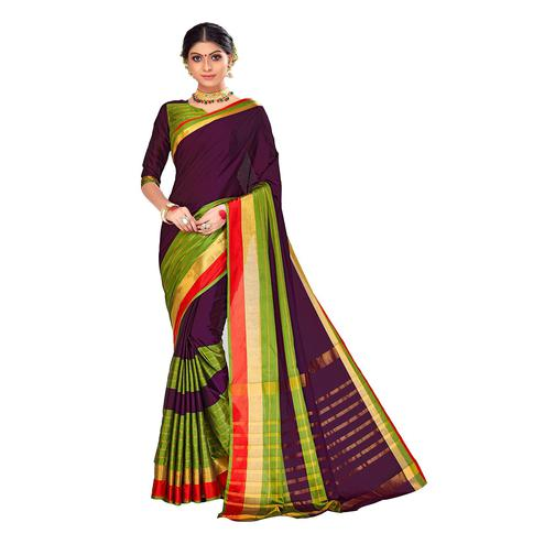 Amegh - Purple-Green Colored Festive Wear Stripe Woven Cotton Silk Saree