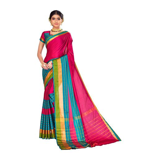 Amegh - Pink-Blue Colored Festive Wear Stripe Woven Cotton Silk Saree