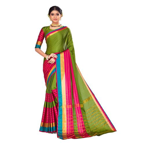 Amegh - Pink-Green Colored Festive Wear Stripe Woven Cotton Silk Saree