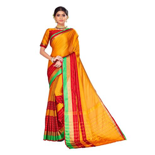 Amegh - Yellow-Red Colored Festive Wear Stripe Woven Cotton Silk Saree