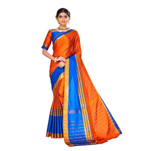 Amegh - Orange-Blue Colored Festive Wear Stripe Woven Cotton Silk Saree