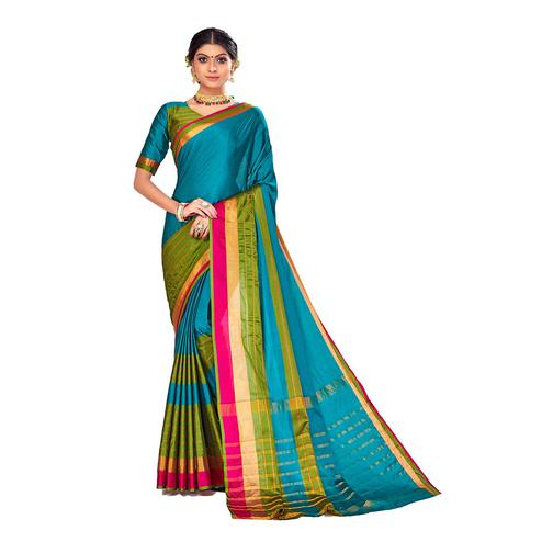 Amegh - Blue-Green Colored Festive Wear Stripe Woven Cotton Silk Saree
