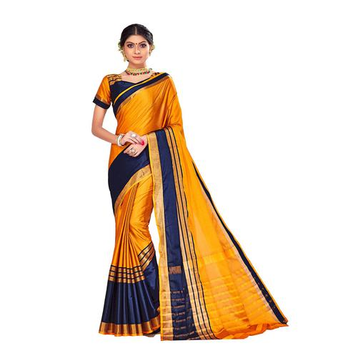 Amegh - Yellow-Navy Blue Colored Festive Wear Stripe Woven Cotton Silk Saree
