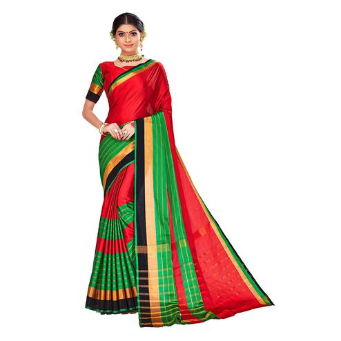 Amegh - Red-Green Colored Festive Wear Stripe Woven Cotton Silk Saree