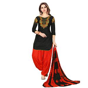 Charming Black Designer Embroidered Partywear Glaze Cotton Patiyala Suit