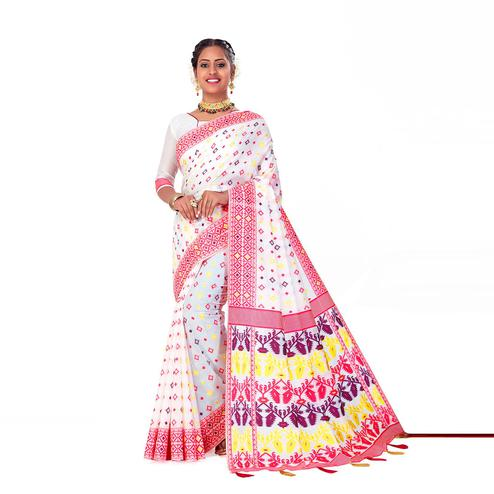 Amegh - White-Multi Colored Festive Wear Printed Woven Cotton Silk Saree With Tassels