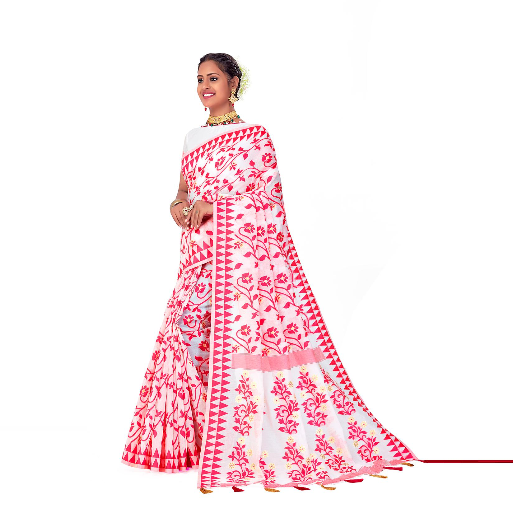 Amegh - White-Pink Colored Festive Wear Printed Woven Cotton Silk Saree With Tassels