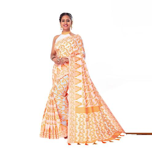 Amegh - White-Orange Colored Festive Wear Printed Woven Cotton Silk Saree With Tassels