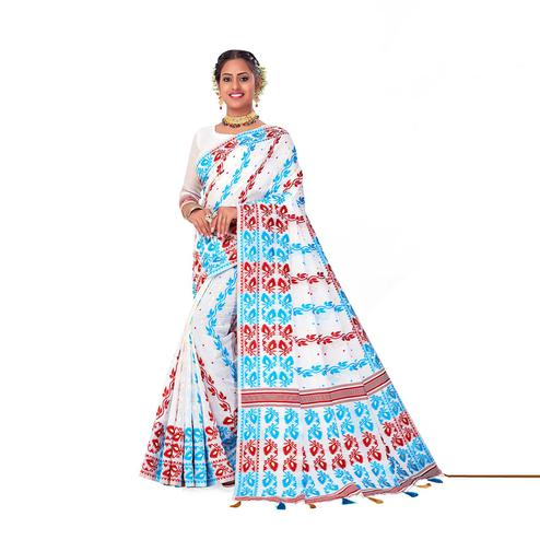 Amegh - White Colored Festive Wear Printed Woven Cotton Silk Saree With Tassels