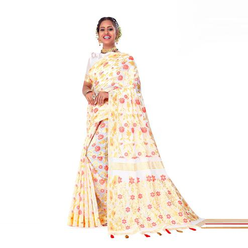 Amegh - White-Yellow Colored Festive Wear Printed Woven Cotton Silk Saree With Tassels