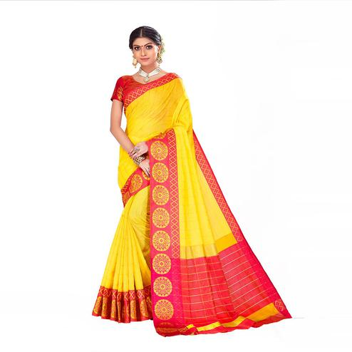 Amegh - Yellow Colored Festive Wear Woven Cotton Silk Saree