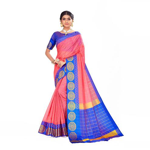 Amegh - Pink Colored Festive Wear Woven Cotton Silk Saree