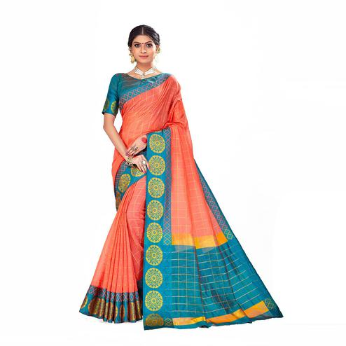 Amegh - Peach Colored Festive Wear Woven Cotton Silk Saree