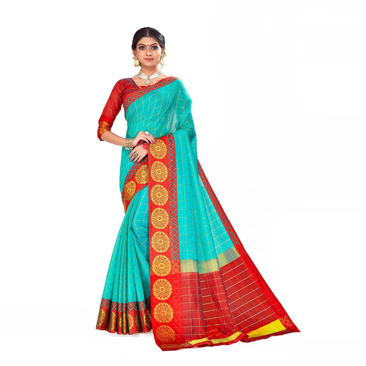 Amegh - Sky Blue Colored Festive Wear Woven Cotton Silk Saree