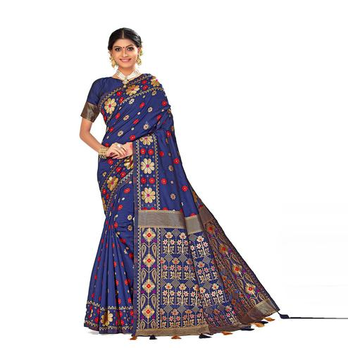 Amegh - Navy Blue Colored Festive Wear Woven Banarasi Silk Saree With Tassels