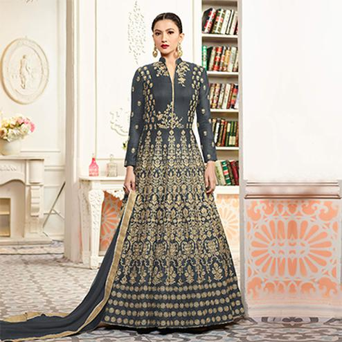 Sizzling Gray Designer Embroidered Partywear Taffeta Silk Anarkali Suit
